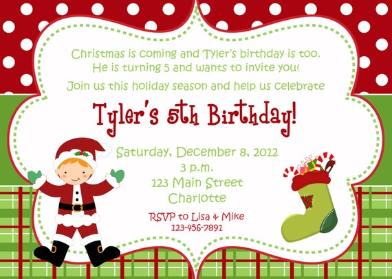 Christmas Birthday Party Invitations.Christmas Birthday Party Invitation Christmas Birthday Invitation Santa Any Hair Color
