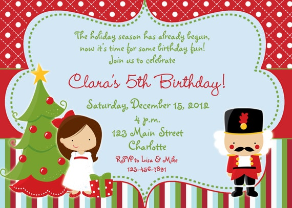 Christmas Birthday Party Invitations.Nutcracker Christmas Birthday Party Invitation Chirstmas Party Invitation Clara Nutcracker You Print Or I Print