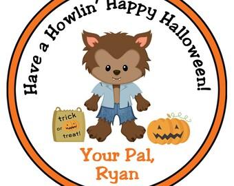 Halloween stickers --  werewolf halloween treat stickers -- monster treat stickers -  halloween sticker