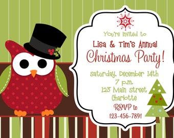 Owl Christmas party invitation  - Christmas birthday invitation -- Christmas Owl Invitation