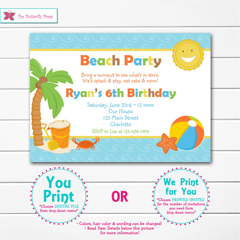 Beach Birthday Party Invitation pool party beach party | Etsy