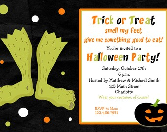 monster feet Halloween invitation  --   Halloween birthday party invitation -- You print or I print