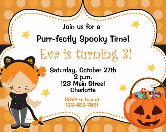 Halloween party invitation --   kitty cat  halloween birthday party invitation -- You print or I print - any hair color