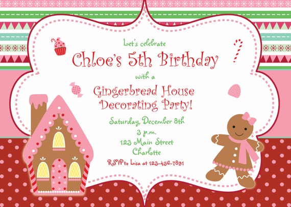 Christmas Birthday Party Invitations.Gingerbread House Christmas Party Invitation Christmas Birthday Party Gingerbread House Candy Gum Drops