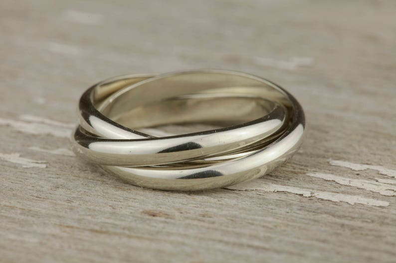 Past Present Future Ring In Heavy Half Round Sterling Silver Etsy