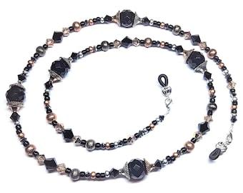 fdbb0e8d8b07 Swarovski Crystal Copper Gunmetal Jet Black Silver Night Bead Mix Eyeglass  Chain