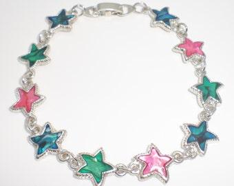 Genuine Paua Sea Shell Starfish Bracelet - Multi Colored