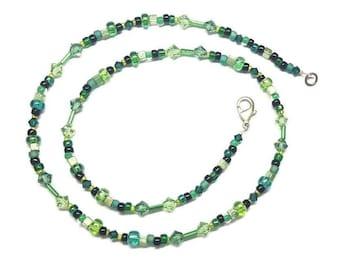 Peridot Erinite Swarovski Crystal Green Bead Mix Necklace