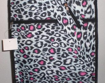 "Animal/Leopard Print Tote Bag - Black/White/Hot Pink - Measures 13x12x4"""