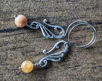 Gray Moonstone Coffin Earrings Coffin Earrings Moonstone Earrings Coffin Jewelry Witchy Jewelry Copper Electroformed Earrings