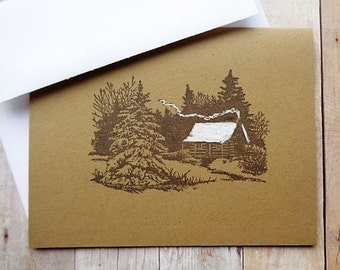 Rustic Cabin Note Cards Country Woodland Stationery Christmas Card