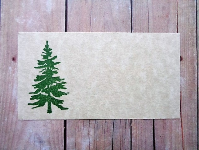 Pine Tree Place Cards Rustic Country Mountain Wedding Escort Cards