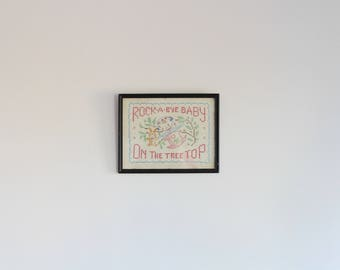 ROCK A BYE BABY - vintage embroidered art