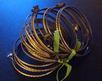 20 gold bangle bracelets