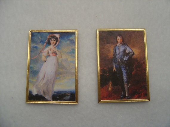 FAST DELIVERY BLUE BOY /& PINKIE Dollhouse Pictures 2 Miniatures MADE IN USA
