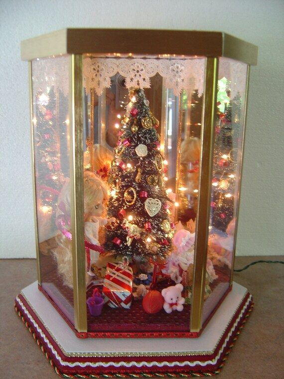 Miniature Children S Bedroom Room Box Diorama: Christmas Room Box Diorama Lighted Tree Doll Beautiful