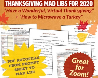Virtual Thanksgiving Mad Libs - Ideal for Zoom + Videochat - Printable PDF or Fillable PDF to Screenshare - Thanksgiving Zoom Party