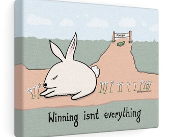 "The Tortoise and the Hare ""Winning Isn't Everything"" Motivational / Demotivational Cartoon Wall Art by Christiann MacAuley"