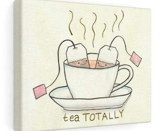 Tea Totally! Cute Tea & Teacup Kitchen Cartoon Wall Art by Christiann MacAuley
