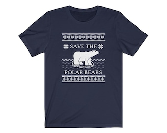 Save the Polar Bears Ugly Sweater Tee (Navy, Royal Blue, or Aqua)