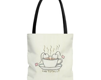 Tea Totally! Cute Tea & Teacup Tote Bag with Cartoon Art by Christiann MacAuley