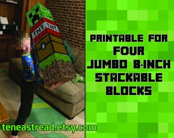 Jumbo 8-inch Pixel Mine-Style Blocks 4-PACK - Printable Block Faces for FOUR Different Stackable Blocks (Just Add Cardboard Boxes!)