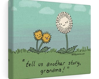 "Dandelion Grandma ""Tell Us Another Story!"" Cute Cartoon Wall Art by Christiann MacAuley"