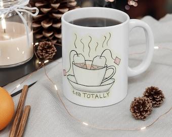 Tea Totally! Cute Tea & Teacup Mug with Cartoon Art by Christiann MacAuley