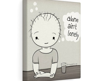 """Happy """"Alone Aint Lonely"""" Bar/Pub Retro Cartoon Wall Art by Christiann MacAuley"""