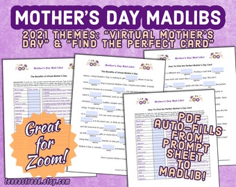 Mother's Day Mad Libs for 2021 - Ideal for Zoom + Videochat - Printable PDF or Fillable PDF to Screenshare - Virtual Mother's Day Zoom Party
