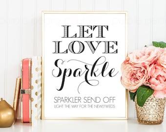 Printable Wedding Sparkler Send Off Sign INSTANT DOWNLOAD 8x10 Digital Print Poster
