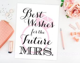 Bridal Shower Decoration Future Mrs Sign Poster Printable Wedding Sign Pink INSTANT DOWNLOAD PDF