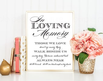 In Loving Memory Wedding Sign Memorial Table Frame 8x10 Printable PDF INSTANT DOWNLOAD