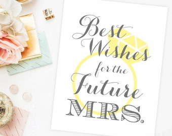 Gray and Yellow Bridal Shower Decoration Sign Future Mrs. Digital Poster Printable Grey Wedding INSTANT DOWNLOAD