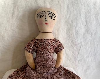 Cloth Doll, Primitive, Brown Dress, Christine LeFever