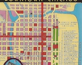 Vintage Chicago Map Postcard - Downtown Chicago YMCA Hotel South Wabash Avenue Facilities for 2000