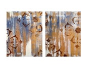 """ABSTRACT painting ORIGINAL 10""""x16""""- two panels gold purple brown"""