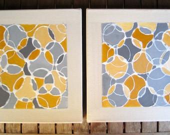 "ABSTRACT ART Original CIRCLES painting-10""x10""  ochre grey white textured art by devikasart"