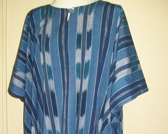 Cotton Caftan - Vintage Blue Striped Fabric - IKAT - One-Size Fits Most