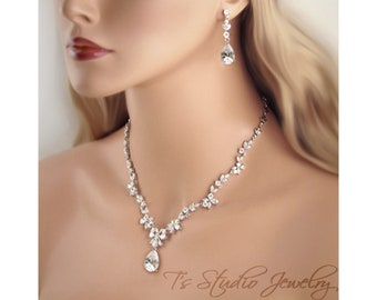 Marquise CZ Cubic Zirconia Bridal Necklace and Earrings Wedding Jewelry Set