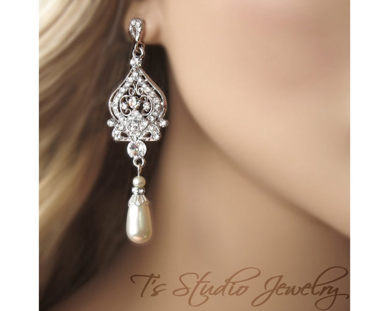 Or Ivory Pearl Wedding Jewelry Also, Bridal Chandelier Earrings With Pearls