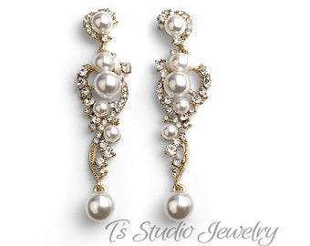 Gold Cascading Pearl & Pave Crystal Rhinestone Bridal Wedding Earrings