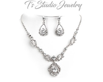 Silver and Rhinestone Necklace & Earrings Bridal Jewelry Set - Crystal Wedding Jewelry Set