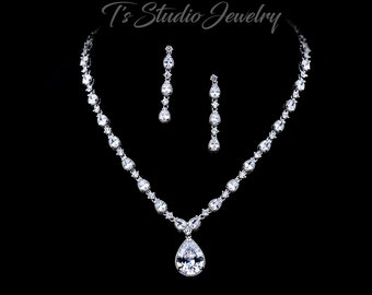 CZ Cubic Zirconia Bridal Necklace and Earrings Wedding Jewelry Set - Pear shaped stones