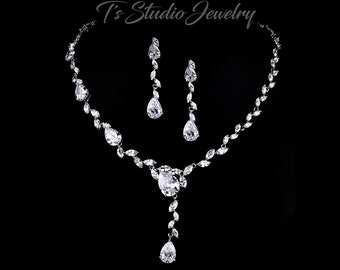 CZ Cubic Zirconia Bridal Necklace and Earrings Wedding Jewelry Set - Pear and Marquise shaped stones