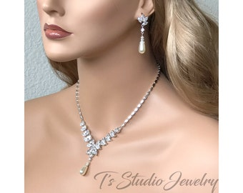 Marquise CZ Cubic Zirconia and Pearl Bridal Necklace and Earrings Wedding Jewelry Set