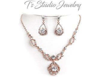 Rose Gold and Rhinestone Necklace & Earrings Bridal Jewelry Set - Crystal Wedding Jewelry Set - available in silver or rose gold