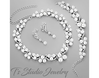 Pearl and CZ Cubic Zirconia Rhinestone Crystal Bridal Wedding Necklace, Bracelet and Earrings Set