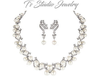 Pearl and CZ Cubic Zirconia Rhinestone Crystal Bridal Wedding Necklace and Earrings Set