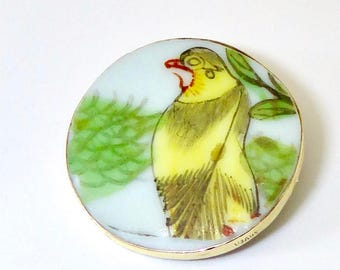 Antique Qing Dynasty Porcelain Shard yellow Bird Pin and Pendant Sale